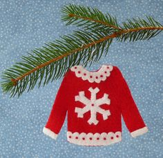 Snowflake Ugly Christmas Sweater Felt by sweetgracieandco on Etsy, $18.00