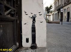 OakOak, a French street artist is back with more of his signature clever and witty street art pieces. Each of his illustrations constitutes a sly little urban intervention meant to brighten and interact with its surroundings.