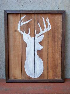 painted deer mount on reclaimed wood,  for my baby boys room | http://tipsinteriordesigns.blogspot.com
