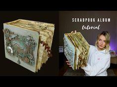 Scrapbook Album Tutorial | VINTAGE PHOTO BOOK - YouTube Scrapbook Sketches, Scrapbook Albums, Scrapbooking, Large Scrapbook, Mini Albums Scrap, Mini Album Tutorial, Album Book, Handmade Books, Altered Books