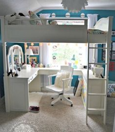 Teen Bedroom Ideas {Girl} – Cottage in the Oaks This is great to let light in. Related Makeup Room Ideas To Brighten Your Morning süße Wohnheim Zimmer Dekor. Awesome Bedrooms, Cool Rooms, Cool Bedroom Ideas, Awesome Beds, My New Room, My Room, Dorm Room, Bedroom Ideas For Small Rooms For Girls, Girl Rooms