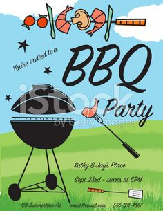 Cute Retro Vintage Style Bbq Invitation Template RoyaltyFree