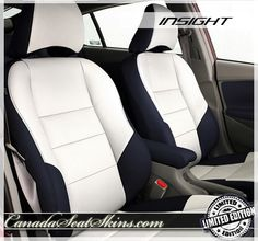 Honda Insight Limited Edition Black and White Leather Seats - canadaseatskins.com #leather