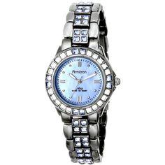 Armitron/3689BMDG Blue Swarovski Crystal Accented Gunmetal Bracelet... ($67) ❤ liked on Polyvore featuring jewelry, watches, blue dial watches, gun metal watches, quartz movement watches, swarovski crystal watches and watch bracelet