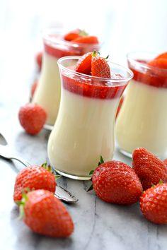 Classic Vanilla Panna Cotta With Strawberry