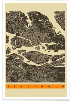 Stockholm Map Series 3 as Premium Poster by Jazzberry Blue | JUNIQE
