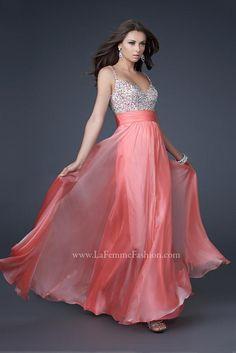 16802 Long La Femme Coral Dress