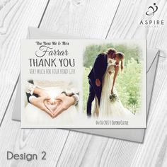 Personalised Wedding Day Thank You Cards With Photo & Envelopes 10-100  Custom Made With Your Own Text & Photo  All orders include FREE UK 1st Class Royal Mail delivery
