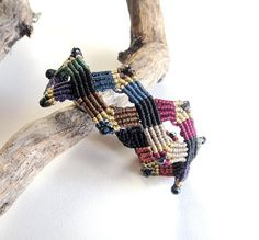 Macrame Bracelet. Boho Chic Oriental High Fashion. Statement Bracelet Zig Zag Diamond Shape. Multicolored. Size Adjustable. Gift for Her.
