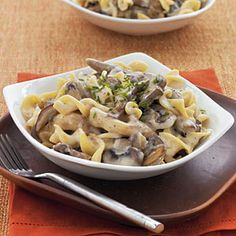 Cooking Light Mushroom Stroganoff:  Delicious!  I would recommend adding 2-3 oz more of mushrooms (I used Porcini) and I also added 2 tbsp Weight Watchers whipped cream cheese in with the light sour cream.  Helped to thicken the sauce and tasted a bit richer.  Kid friendly (my four-year-old didn't know he was eating mushrooms and onions!).