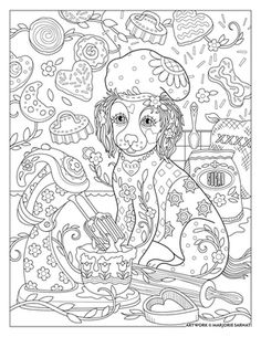 chef-doggie ~ Pampered Pets Adult Coloring Book by Marjorie Sarnat