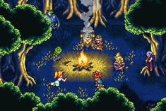 Chrono Trigger poster featuring the campfire scene with Crono, Lucca, Frog, Robo, Marle, Ayla, and Magus.