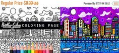 50% Off Today- San Diego California Skyline City Coloring Book Pages, Adult Coloring Cityscape Printable Instant Download