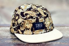 The Worlds Original Face  TWO Face London3rd Edition 5 panel cap, hatDark brown, gold floral cotton with cream corduroy peakBlack leather stitched back strap