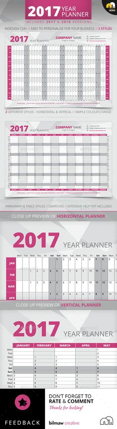 Year+Wall+Planner / Wall calendar / Print / Template / Office