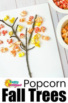 This adorable popcorn fall tree craft is a fun way for toddlers and preschoolers to explore the colours of fall. All you need for this easy preschool craft is tempera paint powder, popcorn and twigs. #HappyHooligans #ArtForKids #KidsArt #CraftsForKids #KidsCrafts #PreschoolCrafts #DaycareCrafts #NatureCrafts #FallCrafts #AutumnCrafts #SensoryCrafts #Popcorn