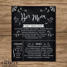 Rustic Wedding Bar Menu, Rehearsal Dinner Bar Menu, Reception Menu - PRINTABLE - garden wedding - chalkboard, blackboard - Tatiana by DIVart on Etsy