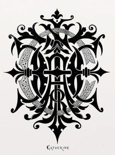 "Monogram ""Catherine"" by Charles Demengeot - 1881"