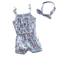 >> Click to Buy << 2017 Summer  Baby Girls Sweet Flower Printing Bodysuit Hairband Set Strappy Romper Outfits For Kids With Headband 1-4Y #Affiliate