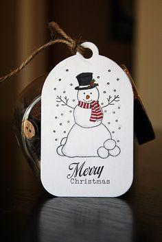 Christmas tag....snowman and falling snow