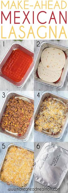 "This Make-Ahead Mexican Lasagna has all of your favorite south-of-the-border flavors in one easy layered ""lasagna"" that you can make ahead of time and freeze for easy dinner! Or use for meal prep or freezer lunches! meals Make-Ahead Mexican Lasagna Freezable Meals, Freezer Friendly Meals, Make Ahead Freezer Meals, Freezer Cooking, Cooking Recipes, Freezer Lasagna, Meal Prep Freezer, Freezer Dinner, Make Ahead Casseroles"