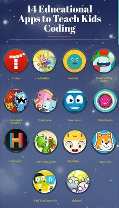 14 Educational Apps to Teach Kids Coding #stem #education #kids #games #fun