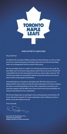 Open Letter to Toronto Maple Leafs fans ...MY beloved TO Maple Leafs havnt won a Stanley cup since 1967. The fans deserve a whole lot more for selling out every game since then.