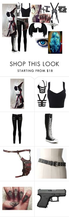 """""""outfit #34 (eyeless)"""" by eyeless-angel-of-death ❤ liked on Polyvore featuring Paige Denim, Converse, Holster, Relic, Dickies and bleu"""