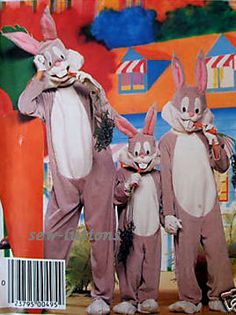 Vintage BUGS BUNNY Costume Sewing Pattern - Warner Brothers Halloween Cwazy Wabbit Costumes