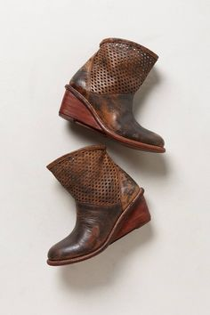 Perforated Wedge Booties #anthropologie