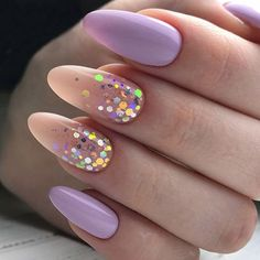 Matte nails with glitter accent. Are you a fan of an almond nails shape? To tell the truth, we adore how feminine and soft this nail shape appears, making your fingers seem longer than they are. Today we will discuss which nail designs will work great for this nail shape. You will wish to try them all for sure! #naildesigns #almondnails #nailideas