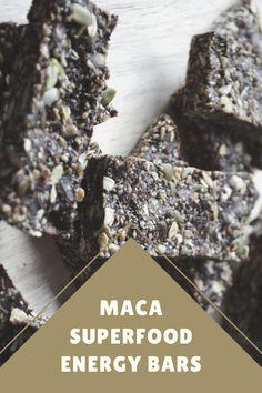 Maca Superfood Energy Bars - Superfoodliving.com Maca Superfood, Chip Bags, Energy Bars, Superfoods, How To Dry Basil, Healthy Snacks, Vitamins, Herbs, Diet