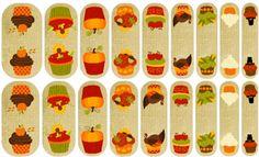 Fall Cupcakes (mixed mani) Jamberry Nail Art Studio, Thanksgiving, dessert