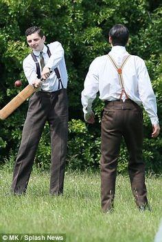 Thomas of Downton Abbey, village scenes series final filming, June 2015..  The Bates' Legal Team..RJC & Michael Fox shooting in Bampton..