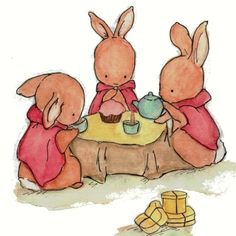 Teatime Bunnies.  Too sweet!  Baby Art  Three for Tea  Art Print by trafalgarssquare on Etsy, $10.00