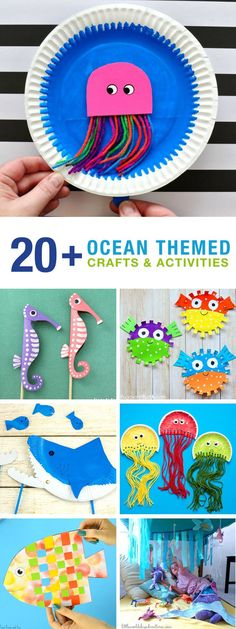 20 Ocean crafts and activities! Make shark, weave a fish and dance with jellyfish! So many fun ocean crafts for kids! Perfect for an ocean theme with preschool or kindergarten!