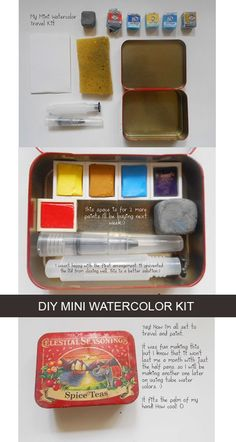 Watercolor Kit, Watercolor Painting Techniques, Watercolour Painting, Watercolors, Arte Sketchbook, Painted Boxes, Travel Kits, Art Tutorials, Art Lessons