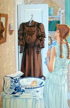 """Anne of Green Gables illustration/painting from """"The Anne of Green Gables Treasury. Chapter matthew insists on puffed sleeves Anne Shirley, Green Gables Fables, Lm Montgomery, Tomorrow Is A New Day, Gilbert Blythe, Anne With An E, Victorian Era, Short Sleeve Dresses, Miniature"""