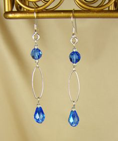Handmade Jewelry - Silver & Sapphire Swarovski Crystal Handmade Earrings