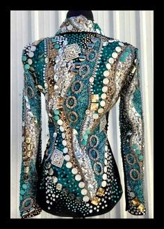 Jacket navy, gold, silver and black Western Show Shirts, Western Show Clothes, Horse Show Clothes, Western Outfits, Western Wear, Riding Clothes, Horse Clothing, Clothing Hacks, Dance Outfits