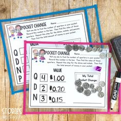Money, Money, Money!💰This pocket change activity is a great way to get your students counting money! Students roll a die to determine how many of each coin to place in their pocket. Then they work to find the total amount. By placing the page in a dry erase sleeve, students can use the page over and over again with different results!