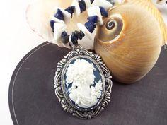 cameo necklace, aphrodite jewelry, cameo pendant, shell bead & blue jasper gemstone necklace $45