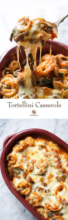 Easy cheesy tortellini casserole! With cheese tortellini, mushrooms, chard, Parmesan and melty Mozzarella cheese. As good as lasagna in half the time! | SimplyRecipes.com