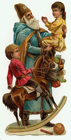 Blue St. Nicholas and children