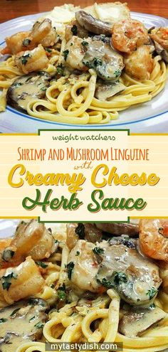 Shrimp and Mushroom Linguine with Creamy Cheese Herb Sauce – blackhouse. Seafood Linguine, Linguine Recipes, Seafood Recipes, Pasta Recipes, Dinner Recipes, Fish Recipes, Herb Recipes, Dinner Ideas, Recipies