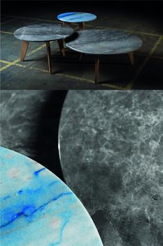 """Jeder Tisch ist ein absolutes Unikat, da dem Tischdesign ein nachhaltiger Gedanke innewohnt. Nicht jede Steinplatte kann bei einem Projekt zu 100% verwendet werden. Die entwickelten Beistelltische greifen genau auf diese Reststücke aus der Produktion zurück und lassen einmalige Einzelstücke entstehen, die einzeln oder auch in der Kombination jedes Wohnzimmer aufwerten. Das Dreibeinfußgestell ist wie beim """"DININGtable""""aus Massivholz. In verschiednen Größen und Höhen erhältlich. Steinmetz, Table, Design, Furniture, Home Decor, Patio, Natural Stones, Living Room, Timber Wood"""