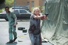 "See 'The Walking Dead' Season 5 Photos ""Slabtown"" Episode 504 Tyler James Williams as Noah and Emily Kinney as Beth Greene"