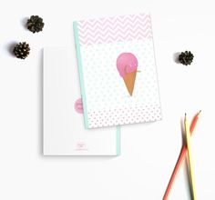 Strawberry ice cream - A5 handmade notebook made of recycled paper de la boutique ChezGermaineCaillou sur Etsy