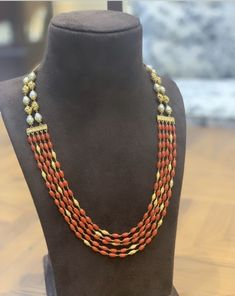 Coral Jewelry, Ruby Jewelry, India Jewelry, Bead Jewellery, Temple Jewellery, Diamond Jewellery, Jewelry Necklaces, Beaded Jewelry Designs, Necklace Designs