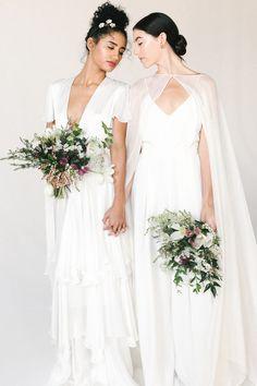 Stylish Wedding Inspiration in Bright Whites Causal Wedding Dress, Perfect Wedding Dress, Lesbian Wedding, Lesbian Couples, Cinderella Dresses, Designer Wedding Dresses, Playing Dress Up, Bridal Style, Wedding Inspiration